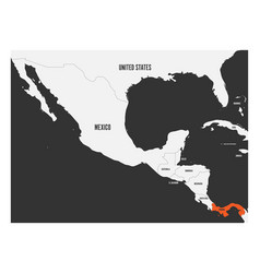 Panama orange marked in political map of central vector