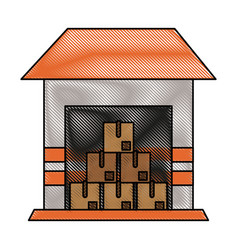 piled cardboard boxes inside storage icon imag vector image