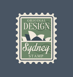 Postal stamp with sydney opera house silhouette vector