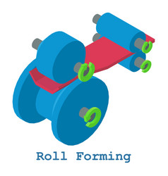 Roll forming metalwork icon isometric 3d style vector