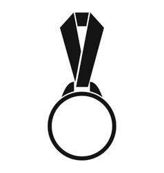 Round medal with ribbon icon simple style vector