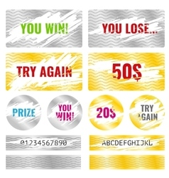 Scratch card game win lottery elements vector image