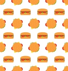 Seamless Texture with Hamburgers Fast Food vector image