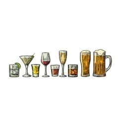 Set glass beer whiskey wine gin rum tequila vector