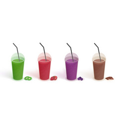 Set of different drinks in plastic cup with lid vector