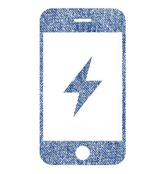 Smartphone electricity fabric textured icon vector