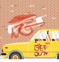 Spraying inscription get out on car and wall vector
