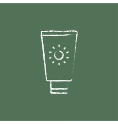 Sunscreen icon drawn in chalk vector