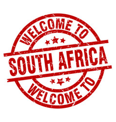 Welcome to south africa red stamp vector