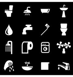 white bathroom icon set vector image vector image