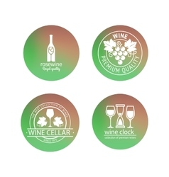 Wine logos in blurred circles backgrounds vector