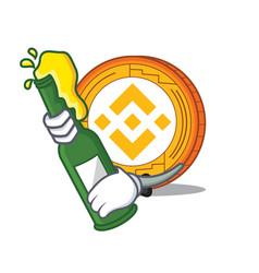 With beer binance coin mascot catoon vector