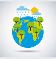 world earth trees rains and summer time vector image