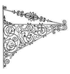 Wrought-iron bracket natural iron finish vintage vector