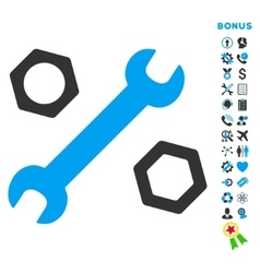 Wrench and nuts flat icon with bonus vector