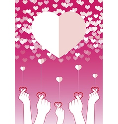 Fingers symbol mini heart vector