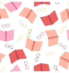 Books and glasses seamless pattern vector image