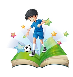 A book with an image of a soccer player vector
