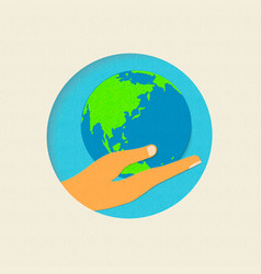 earth day paper cut world environment concept vector image