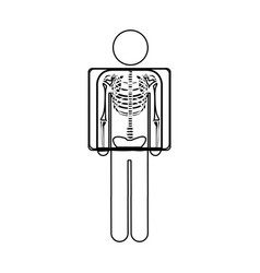 silhouette pictogram patient and radiography vector image