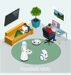 Isometric robots housework and technology concept vector