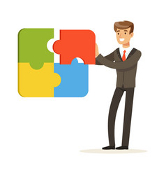 Smiling businessman assembling colorful jigsaw vector
