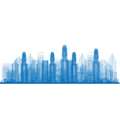 Outline skyline with city skyscrapers vector