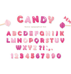 Candy glossy font design colorful pink abc vector