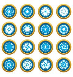 Photo diaphragm icons blue circle set vector