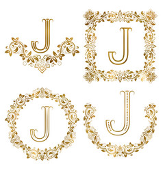 Golden j letter ornamental monograms set heraldic vector