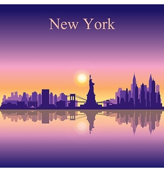 New york city skyline silhouette background vector