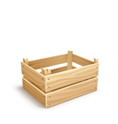 Wooden box for fruits and vector