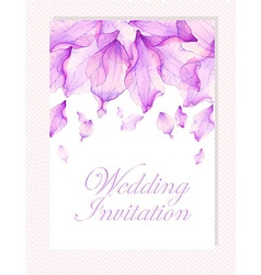 Invitation with watercolor flower petals vector
