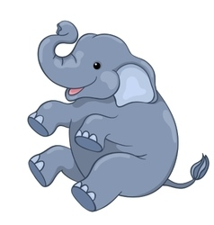 Happy elephant sitting vector
