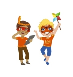Two boys with painted faces vector
