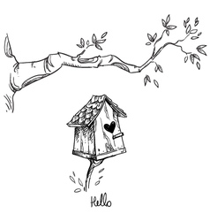 Birdhouse and the tree branch vector