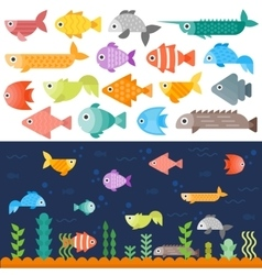 Underwater fishes set vector