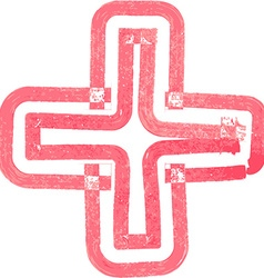 Abstract cross symbol made with red marker vector
