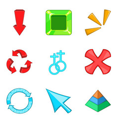 arrowhead icons set cartoon style vector image