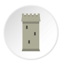 battle tower guarding the fortress icon circle vector image vector image