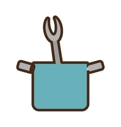 Blue pot grill fork utensil kitchenware vector