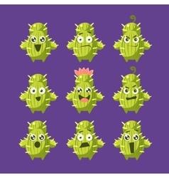 Cactus cartoon character set vector