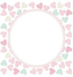 circle frame with stylish hearts vector image