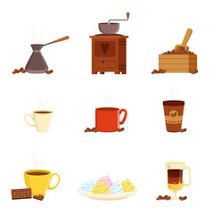 coffee set various kitchen utensils for making vector image vector image