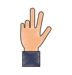 Color pencil hand with three fingers up vector