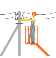 electrician repairing wire of the power line with vector image
