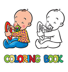 Funny small baby sitting with dummy coloring book vector