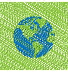 hand drawn globe eco doodles vector image vector image