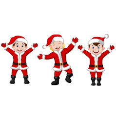 Happy children cartoon in Santa Costume vector image vector image