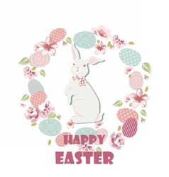 Happy easter card with cute rabbit vector
